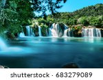 long exposure view of waterfall ... | Shutterstock . vector #683279089