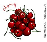 red cherries. composition with... | Shutterstock .eps vector #683286964