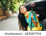 indian woman enjoying in... | Shutterstock . vector #683287741