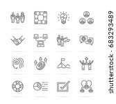 teamwork vector line icons ... | Shutterstock .eps vector #683293489