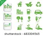 ecology icon set. vector... | Shutterstock .eps vector #683304565