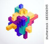 multicolored 3d cube | Shutterstock .eps vector #683306545