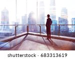 young businessman looking out... | Shutterstock . vector #683313619