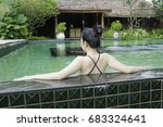 back side of sexy woman enjoy... | Shutterstock . vector #683324641