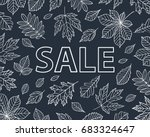 autumn leaves drawn with chalk... | Shutterstock .eps vector #683324647