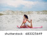 time for yoga. attractive and... | Shutterstock . vector #683325649