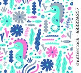 sea life seamless pattern with... | Shutterstock .eps vector #683326357