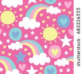 seamless sun and rainbow... | Shutterstock .eps vector #683326555