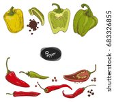 hand drawn sketch style peppers ... | Shutterstock .eps vector #683326855