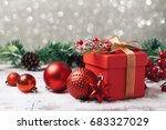 christmas gift box and... | Shutterstock . vector #683327029