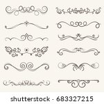 vector set of decorative... | Shutterstock .eps vector #683327215