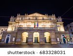 the theater scala  of milan ...   Shutterstock . vector #683328031