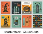 Stock vector halloween hand drawn invitation or greeting cards set vector illustration 683328685