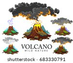 a set of volcanoes of varying... | Shutterstock .eps vector #683330791