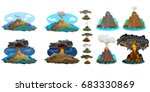 a set of volcanoes of varying... | Shutterstock .eps vector #683330869