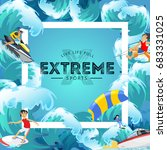 set of water extreme sports... | Shutterstock .eps vector #683331025