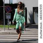 Small photo of MILAN- 17 June 2017 Elisa Taviti on the street during the Milan Fashion Week