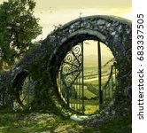 3d render of a gate wall to a... | Shutterstock . vector #683337505
