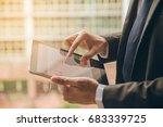 close up businessman hand using ... | Shutterstock . vector #683339725