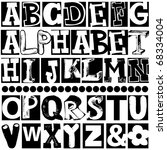 hand drawn alphabet isolated on ... | Shutterstock . vector #68334004