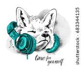 fox in a green headphones on... | Shutterstock .eps vector #683344135
