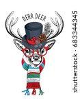 Christmas Card. Deer In A...
