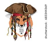 fox with dreadlocks in a pirate ... | Shutterstock .eps vector #683344369