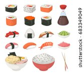 sushi set on white. | Shutterstock .eps vector #683349049