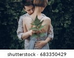 stylish hipster bride and groom ... | Shutterstock . vector #683350429