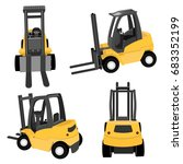 forklift in yellow color... | Shutterstock .eps vector #683352199