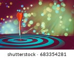 red dart arrow hitting in the... | Shutterstock . vector #683354281