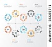 journey outline icons set.... | Shutterstock .eps vector #683355541