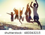 happy smiling friends jumping... | Shutterstock . vector #683363215