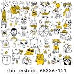vector set of cute doodle... | Shutterstock .eps vector #683367151
