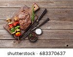 grilled vegetables and beef... | Shutterstock . vector #683370637
