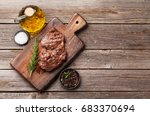 grilled beef steak with spices... | Shutterstock . vector #683370694