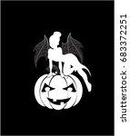 halloween fairy on pumpkin ... | Shutterstock .eps vector #683372251