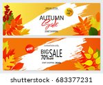 set of autumn banners with... | Shutterstock .eps vector #683377231