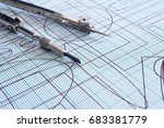 drawing and compasses | Shutterstock . vector #683381779