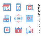 vector set of flat digital... | Shutterstock .eps vector #683387935