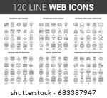 vector set of 120 flat line web ... | Shutterstock .eps vector #683387947