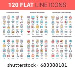 vector set of 120 flat line web ... | Shutterstock .eps vector #683388181