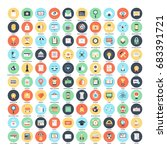 vector set of 100 flat web... | Shutterstock .eps vector #683391721