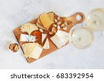 cheese plate served with white... | Shutterstock . vector #683392954