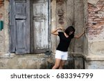 serious woman attempt to hit... | Shutterstock . vector #683394799