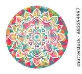 mandala over colorful... | Shutterstock .eps vector #683394997