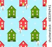 house christmas seamless... | Shutterstock .eps vector #683396941