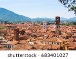 Aerial View Of Town Lucca And...