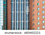 glass elevators or lifts in...   Shutterstock . vector #683402221