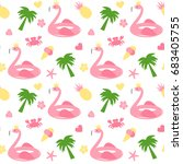 cute flamingo float seamless... | Shutterstock .eps vector #683405755